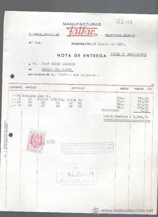 FACTURA. BARCELONA. MANUFACTURAS FALBAR. 1951. (Coleccionismo - Documentos - Facturas Antiguas)