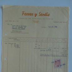 Facturas antiguas: FACTURA. BARCELONA. JULIO 1952. FERRER Y SENTIS. A. FABRICA DE GENEROS DE PUNTO.. Lote 29721974