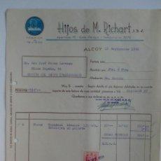 Faturas antigas: FACTURA. ALCOY. SEPTIEMBRE 1956. HIJOS DE M. RICHART, S. R. C. FABRICA DE TEJIDOS.. Lote 29722726