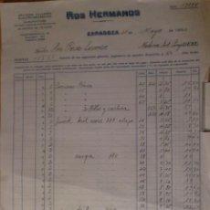 Facturas antiguas: FACTURA. ZARAGOZA. MAYO 1932. ROS HERMANOS. TALLERES ELECTRO-MECANICOS.. Lote 29884957
