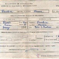Facturas antiguas: FACTURA, MINISTERIO DE AGRICULTURA, SERVICIO NACIONAL DE CEREALES 1968 MANRESA. Lote 29937386