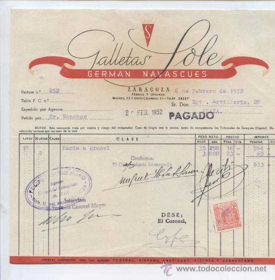 ARAGON. ZARAGOZA 1952. GALLETAS SOLE. GERMAN NAVASCUES. ALIMENTACION. (Coleccionismo - Documentos - Facturas Antiguas)