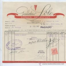 Factures anciennes: ARAGON. ZARAGOZA 1952. GALLETAS SOLE. GERMAN NAVASCUES. ALIMENTACION.. Lote 30206083