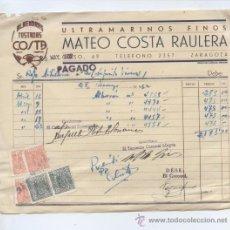 Factures anciennes: ARAGON. ZARAGOZA 1952. ULTRAMARINOS FINOS MATEO COSTA RAULERA. ALMENDRAS TOSTADAS COSTA. Lote 30206257