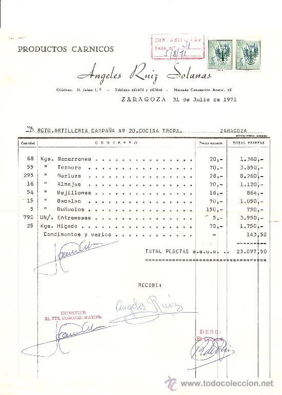 PRODUCTOS CARNICOS. ANGELES RUIZ SOLANAS. ZARAGOZA 1971 (Coleccionismo - Documentos - Facturas Antiguas)