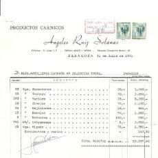 Factures anciennes: PRODUCTOS CARNICOS. ANGELES RUIZ SOLANAS. ZARAGOZA 1971. Lote 30628218