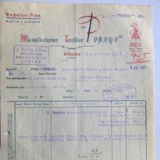 Facturas antiguas: FACTURA POPEYE -MANUFACTURAS TEXTILES / ALBAIDA 1958 / FISCALES / VALENCIA. Lote 30655562