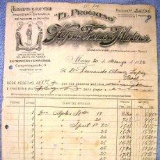 Facturas antiguas: FACTURA DE EL PROGRESO, HIJO DE FRANCISCO MARTINEZ, MIERES, ASTURIAS, 1932. PAQUETERIA QUINCALLA.. Lote 30723724