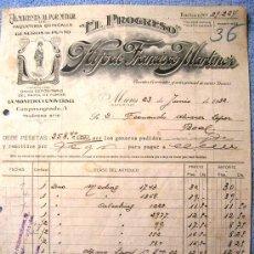 Facturas antiguas: FACTURA DE EL PROGRESO, HIJO DE FRANCISCO MARTINEZ, MIERES, ASTURIAS, 1932. PAQUETERIA QUINCALLA.. Lote 30723881