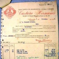 Facturas antiguas: FACTURA DE CASTAÑO HERMANOS, ARRIONDAS Y AVILES, ASTURIAS. FABRICA DE AGUARDIENTES Y LICORES, 1932.. Lote 194720553