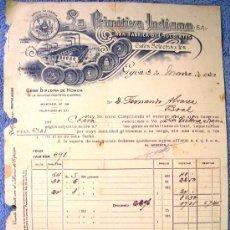 Facturas antiguas: FACTURA DE LA PRIMITIVA INDIANA, GIJON, ASTURIAS, 1930. GRAN FABRICA DE CHOCOLATES, CAFES Y TES.. Lote 30725045