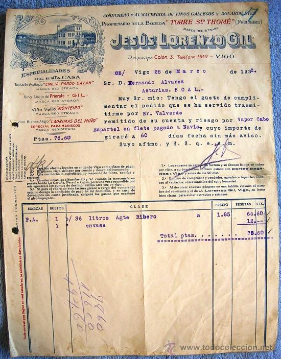 FACTURA DE JESUS LORENZO GIL, VIGO Y FREIJEIRO, 1932. ALMACEN DE VINOS GALLEGOS Y AGUARDIENTES. (Coleccionismo - Documentos - Facturas Antiguas)