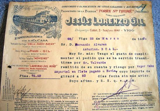 Facturas antiguas: FACTURA DE JESUS LORENZO GIL, VIGO Y FREIJEIRO, 1932. ALMACEN DE VINOS GALLEGOS Y AGUARDIENTES. - Foto 2 - 30733087