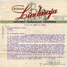 Facturas antiguas: FACTURA. BODEGAS LINDARAJA. ANTONIO GONZALEZ HERRERA. GRANADA. 1952,. Lote 30774575