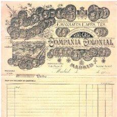 Facturas antiguas: 1910.- FACTURA CON GRAN ILUSTRACIÓN DE CHOCOLATES, CAFES Y TES - COMPAÑIA COLONIAL. Lote 30778800