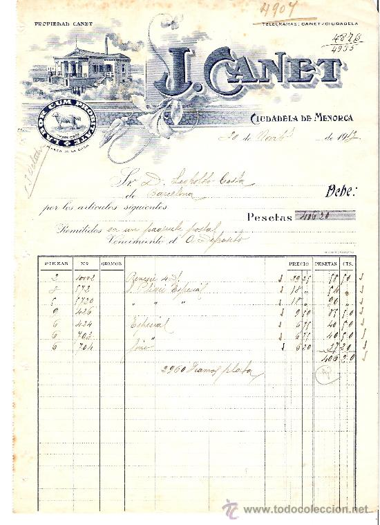 FACTURA AÑO 1913 *J. CANET - CIUDADELA DE MENORCA* (Coleccionismo - Documentos - Facturas Antiguas)