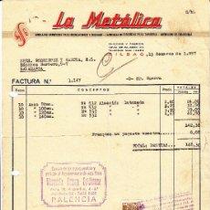 Facturas antiguas: FACTURA DE LA METALICA, BILBAO, 1957. DISTRIBUYE FLORENCIO GUERRA DE PALENCIA.. Lote 30976723