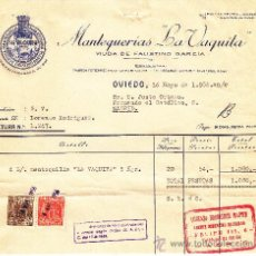 Facturas antiguas: MANTEQUILLA PURA ASTURIANA LA VAQUITA, OVIEDO 1956. Lote 30977011