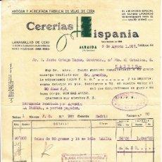 Facturas antiguas: FACTURA DE CERERIAS HISPANIA, ALBAIDA, VALENCIA 1957, DIVERSOS TAMPONES, POLIZAS... Lote 30989715