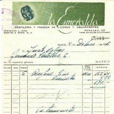 Facturas antiguas: FACTURA LA ESMERALDA, FABRICA DE LICORES Y AGUARDIENTES, MADRID 1956. Lote 30990537