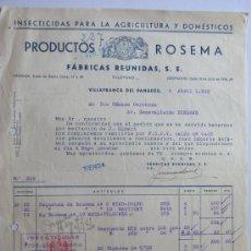 Facturas antiguas: FACTURA PRODUCTOS ROSEMA -INSECTICIDAS / VILAFRANCA DEL PENEDES 1942 / FISCALES. Lote 31000216