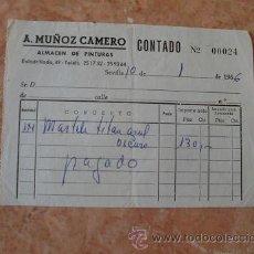 Facturas antiguas: FACTURA ANTONIO MUÑOZ CAMERO,ALMACEN DE PINTURAS,SEVILLA,AÑO 1966. Lote 31023161