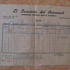Facturas antiguas: FACTURA EL SANATORIO DEL AUTOMOVIL,SUMINISTROS GENERALES AUTOMOVIL,SEVILLA,AÑO 1956. Lote 31023217