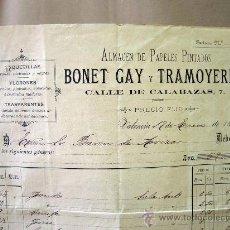Facturas antiguas: RARA FACTURA BARON DE ALZIRA, BONET GAY Y TRAMOYERES, PAPELES PINTADOS, VALENCIA, 1890. Lote 31204916