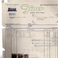 Facturas antiguas: FACTURA FÁBRICA JUGUETES GINER, ALICANTE,1958, BARCA VELA, BALANDRO CORRIENTE. Lote 31234160