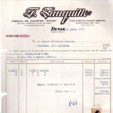 Facturas antiguas: FACTURA FÁBRICA JUGUETES SPORT, DENIA,1958, PATÍN GOMA. Lote 31234178