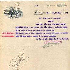 Facturas antiguas: FACTURA. FÁBRICA DE HILADOS Y TEJIDOS. MARCOS VILADOMIU. BARCELONA. 1928. Lote 31321676