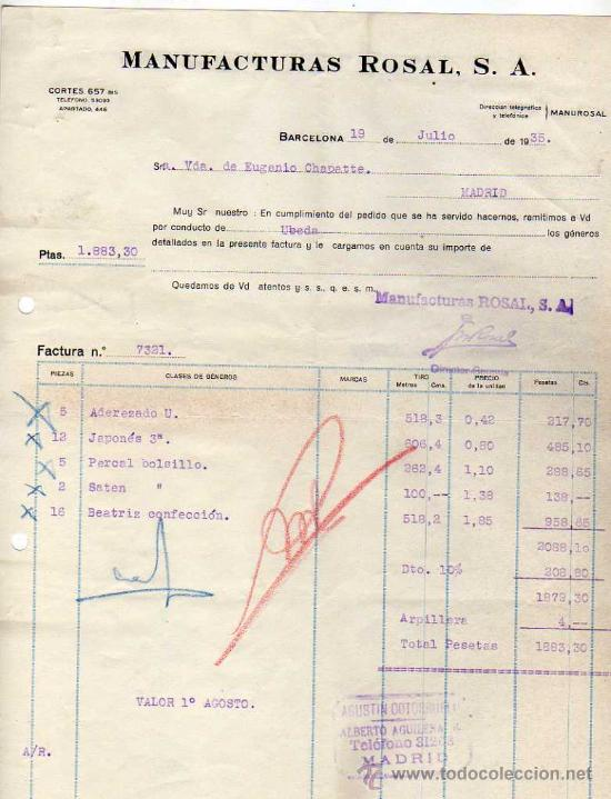 FACTURA. MANUFACTURAS ROSAL. BARCELONA. (Coleccionismo - Documentos - Facturas Antiguas)