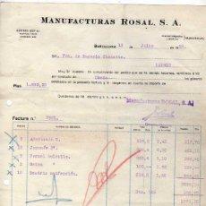 Alte Rechnungen - Factura. Manufacturas Rosal. Barcelona. - 31321718