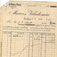 Facturas antiguas: FACTURA. FABRICA DE HILADOS Y TEJIDOS DE ALGODÓN. MARCOS VILADOMIU. BARCELONA. . Lote 31322187