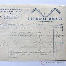 Fatture antiche: FACTURA / FABRICA DE YUGOS - JOUS - ISIDRO BASSI / LERIDA AÑO 1941 / LLEIDA. Lote 31346900