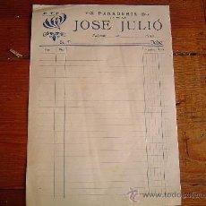 Facturas antiguas: ANTIGUA FACTURA PANADERIA - JOSÉ JULIÓ..PUIGREIG. MEMBRETE MODERNISTA. Lote 31380310
