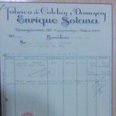 Facturas antiguas: FACTURA. BARCELONA. ABRIL 1944. ENRIQUE SOLANA. FABRICA DE COLCHAS Y DAMASCOS.. Lote 31642654