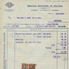 Facturas antiguas: FACTURA AGENZIA GENERALE DI VENDITA 1922. Lote 31658862