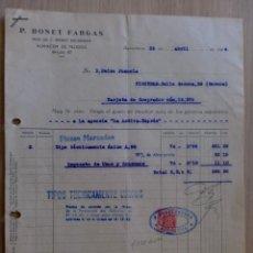Facturas antiguas: FACTURA. BARCELONA. ABRIL 1944. P. BONET FARGAS. ALMACEN DE TEJIDOS.. Lote 31771133