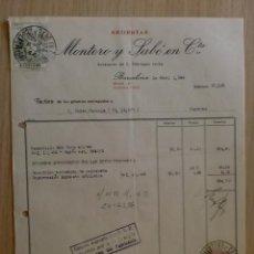 Facturas antiguas: FACTURA. BARCELONA. ABRIL 1944. MONTORO Y SABE EN CTA. SEDERIAS.. Lote 31771425