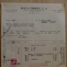 Facturas antiguas: FACTURA. BARCELONA. ABRIL 1944. ROCA UMBERT, C. A.. Lote 31771552