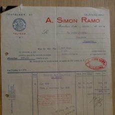 Facturas antiguas: FACTURA. BARCELONA. ABRIL 1944. A. SIMON RAMO. TEJIDOS, MARCA REGISTRADA.. Lote 31771576
