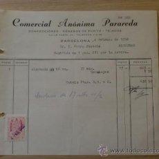 Facturas antiguas: FACTURA. BARCELONA. FEBRERO 1952. COMERSIAL ANONIMA PARADERA. CONFECCIONES, GENEROS DE PUNTO.. Lote 31783905