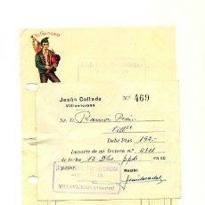 Facturas antiguas: ANTIGUA FACTURA SIDRA EL GAITERO VILLAVICIOSA. 1954. Lote 31884061