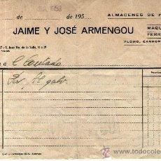 Facturas antiguas: FACTURA RECIVO DE JAIME Y JOSE ARMENGOU MANRESA. Lote 31934968