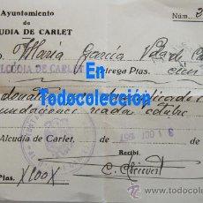 Facturas antiguas: FACTURA RECIBO DONATIVO PRO DAMNIFICADOS INUNDACIONES RIADA VALENCIA 1957 ALCUDIA DE CARLET. Lote 32391468