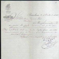 Facturas antiguas: BARCELONA. FACTURA DE LAVADOS PUIG Y CIA. 1902. Lote 32417499