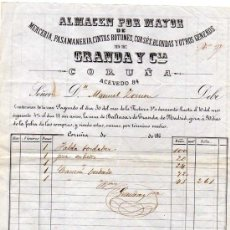 Facturas antiguas: FACTURA ORIGINAL. ALMANCEN POR MAYOR. MERCERIA, CINTAS, BOTONES ETC GRANDA Y CIA. CORUÑA. 1860 FIRMA. Lote 32488728