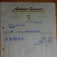 Facturas antiguas: FACTURA. BARCELONA. ABRIL 1953. ANTONIO CASAMOR. FABRICA DE GENEROS DE PUNTO.. Lote 32818931