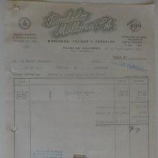 Facturas antiguas: FACTURA. PALMA DE MALLORCA. SEPTIEMBRE 1956. BORDADOS MALLORCA S. A. BORDADOS, TEJIDOS Y PAÑUELOS.. Lote 32857619